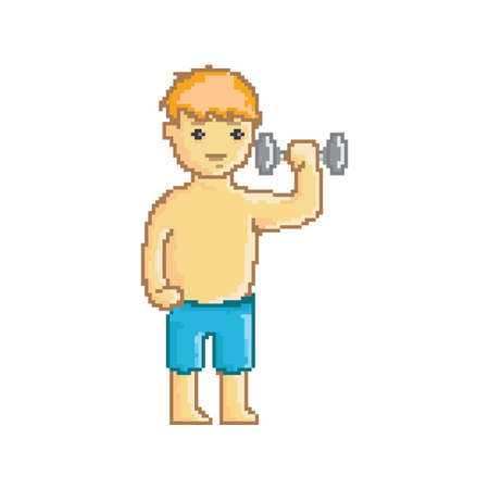 boy holding a dumbbell