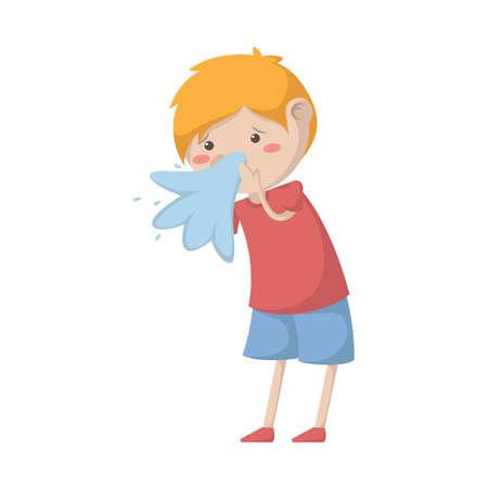 uncomfortable: Boy having a cold Illustration