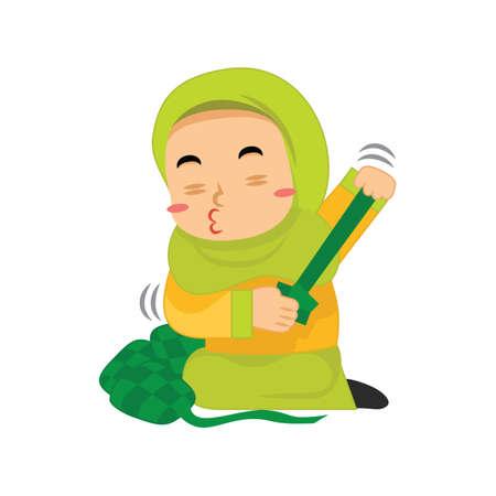 muslim girl preparing ketupat