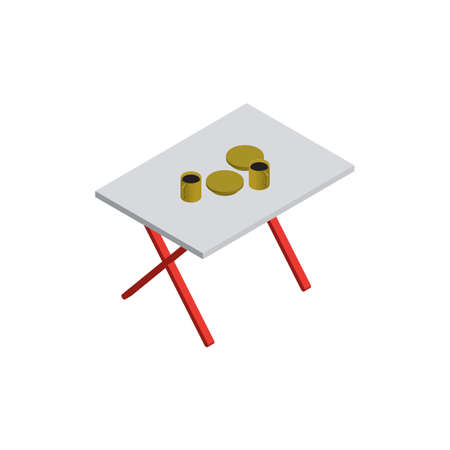 camping tafel Stock Illustratie