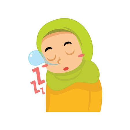 Moslemisches Mädchen schläft ein Standard-Bild - 79810448