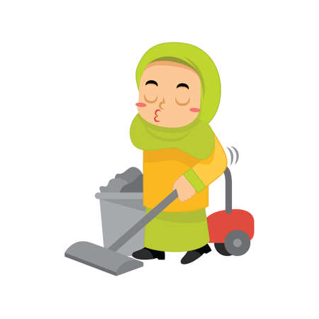muslim girl cleaning with vacuum