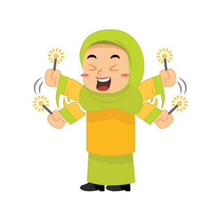 Moslemisches Mädchen, das mit Feuerwerkswunderkerzen spielt Standard-Bild - 79810639