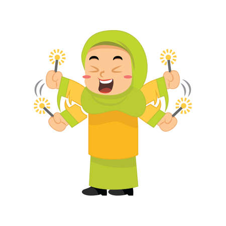 muslim girl playing with firework sparklers Illustration