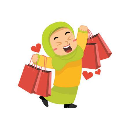 muslim girl with shopping bag