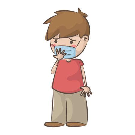 boy feeling unwell wearing face mask