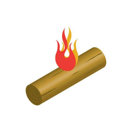 firewood on fire Illustration