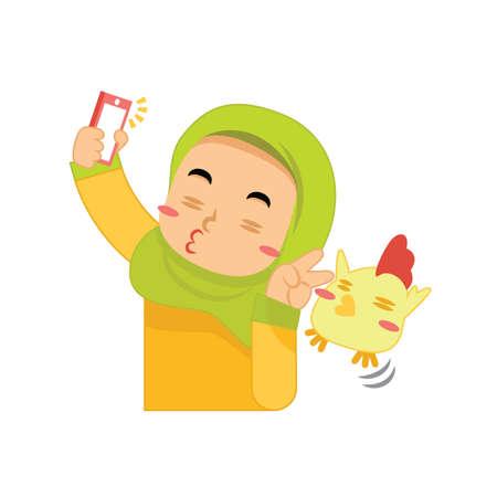 muslim girl taking a selfie Illustration