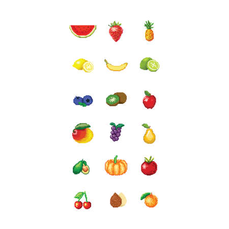 set of fruits pixel art
