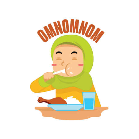 muslim girl eating rice and chicken Illustration