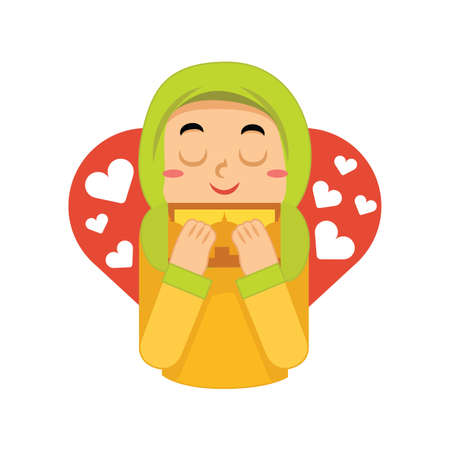 muslim girl happy from receiving card