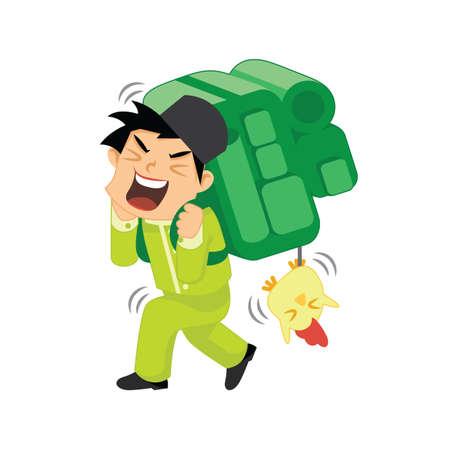 muslim boy carrying backpack