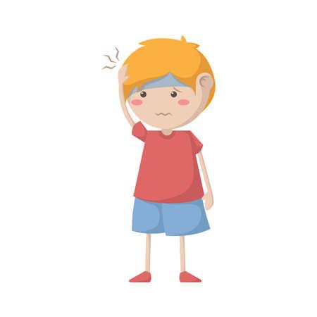 두통을 앓고있는 소년