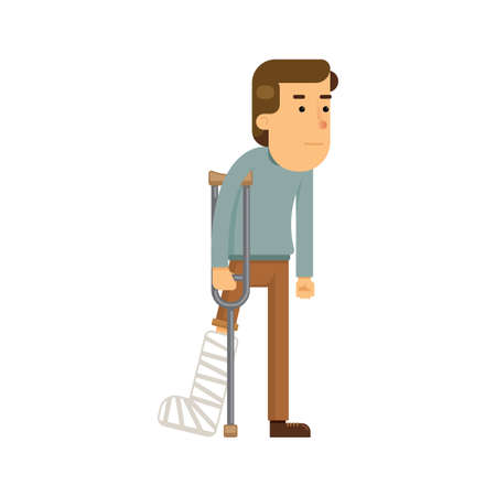 man with broken leg Stock Illustratie
