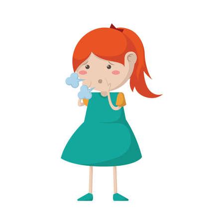 girl coughing Çizim