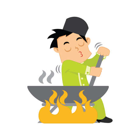 muslim boy cooking and stirring pot