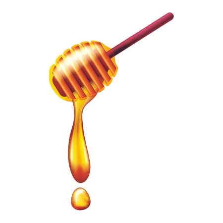 Honing die van houten honingdipper stroomt Stock Illustratie