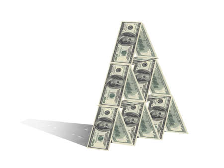 Tower of dollars isolated on white photo