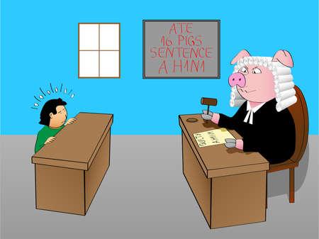 Judge pig Stock Vector - 6093799