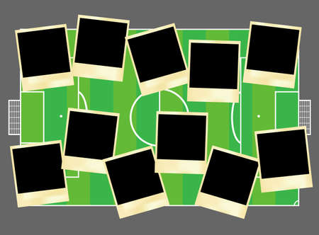 Instant photos for eleven footballers Vector