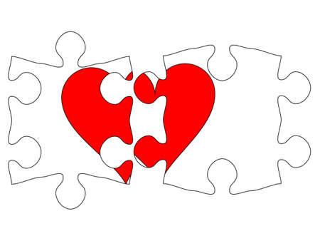 Transparent puzzle with heart Vector