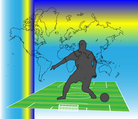 Footballer silhouette on the pitch Vector