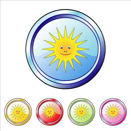 Happy sun buttons Vector