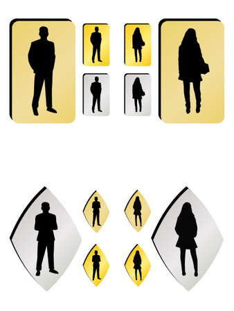man and women wc sign: buttons with man and woman