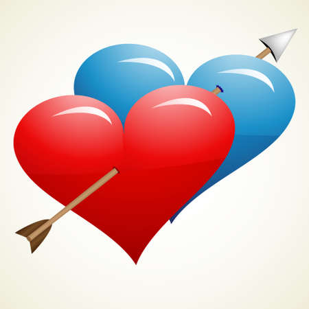 Arrow through two hearts, one red and one blue Vector
