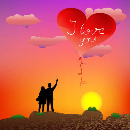 Couple standing on the rocks and guy showing heart-shape balloon at sunset Vector