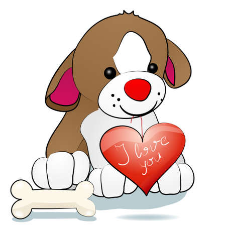 Sweety dog holding heart in mouth Vector