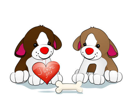Love of two cute dogs isolated on white Vector
