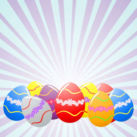 Colorful Easter eggs under rays Vector