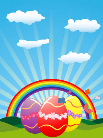 Easter eggs under rainbow and sun-rays Stock Vector - 8873079