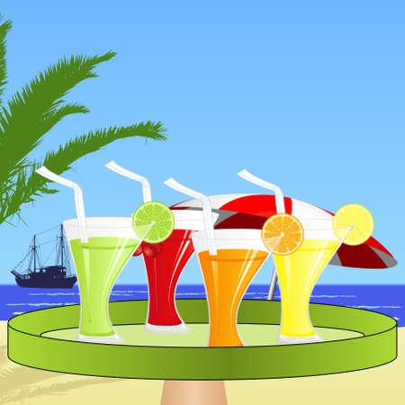 A waiter brings fruit juices on the beach Vector