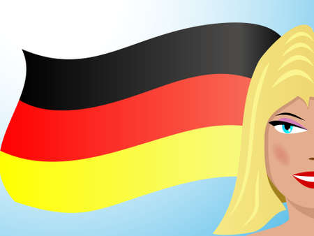 fluttering: Fluttering German flag and blond girl