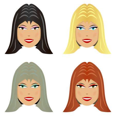 Four female face with different hair color Vector