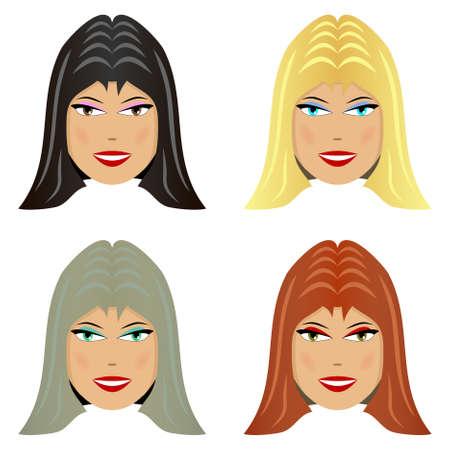 yellow hair: Quattro volto femminile con il colore dei capelli diverso Vettoriali