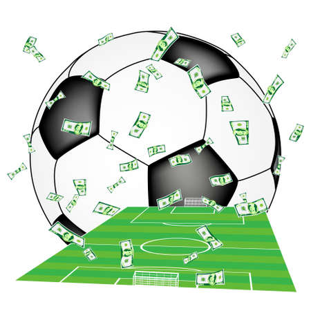 football match: Soldi che cade sul campo di calcio