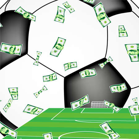 Money falling on the football pitch, with soccer ball in the background Vector