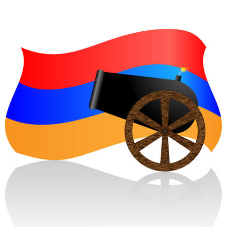 armenian: Armenian flag and old cannon isolated on white Illustration