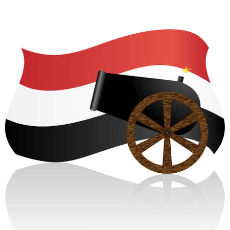 Egyptian Flag and old cannon isolated on white Vector