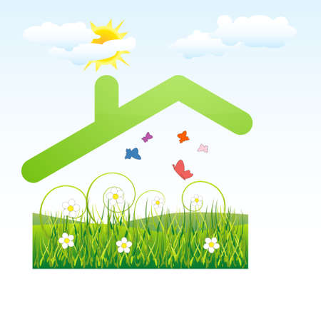 house clip art: Green roof aboce flower and grass field - ecology concept