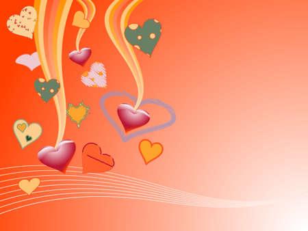 Various hearts on the orange backgroun Vector