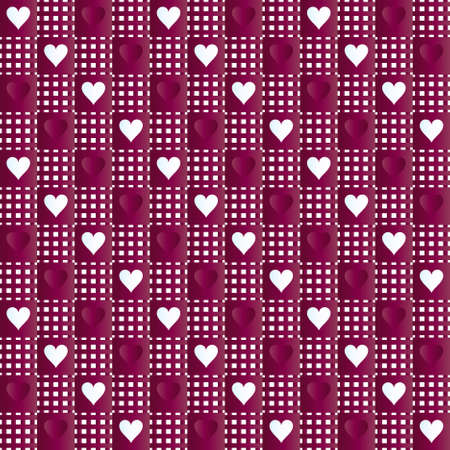 Red-white repeated hearts rag Vector