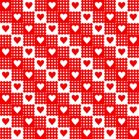 Red-white repeated hearts rag Stock Vector - 8912694