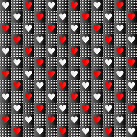 rag: Red-black-white repeated hearts rag