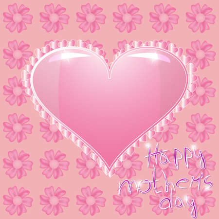 Pink heart on the pink flowers background Stock Vector - 9117512