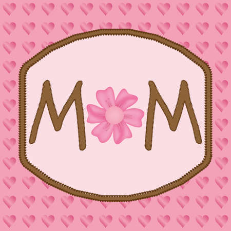 Word mom with flower on the pink hearts background Vector