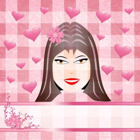 Female face surrounded with hearts on the pink background Vector